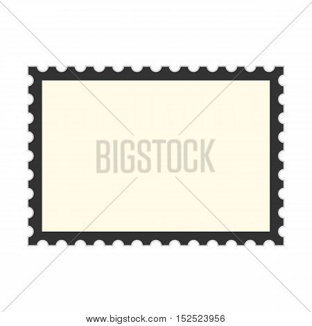black postage stamp template. concept of message, indentation, cardboard, stationery, poststamp, backdrop. isolated on white background. flat style trendy modern design vector illustration
