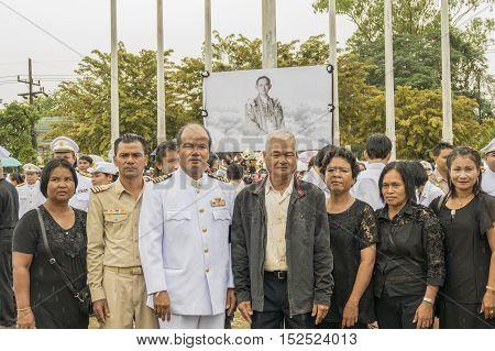KRABI THAILAND - OCTOBER 19 2016: Crowds of mourners during Mourning Ceremony of King Bhumibol Adulyadej at Krabi Provincial Hall on October 19 2016 in Krabi Thailand.
