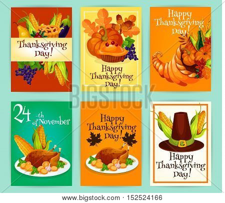 Thanksgiving Day greetings with traditional symbols of autumn celebration holiday. Vector cards set with vegetables harvest, pumpkin with sweet pie, cornucopia horn of plenty food, roasted turkey, pilgrim har with corn decoration tags