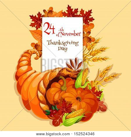 Thanksgiving greeting card. Cornucopia harvest emblem. Vector element of plenty food horn on orange background for traditional thanksgiving celebration greeting and invitation card, banner, poster