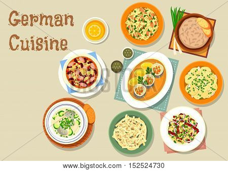 German cuisine bavarian dishes icon of pork and sauerkraut salad, vegetable sausage salad, fish soup, potato salad, herring roll, sauerkraut bean stew with frankfurter, cheese fruit salad