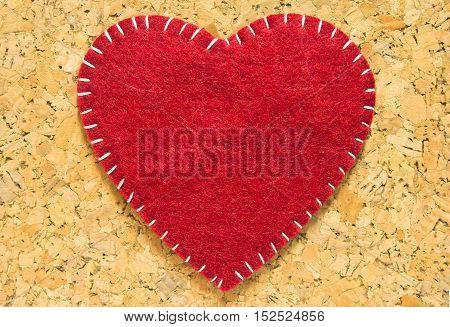 Sign velvet, red heart shape, design, cardboard