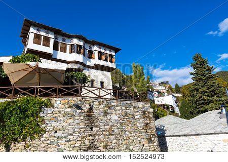 Typical greek tavern, restaurant or cafe view at Makrinitsa village of Pelion, Greece