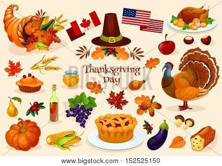 Thanksgiving day. Vector elements of thanksgiving celebration harvest and icons. Traditional turkey, cornucopia horn, pilgrim hat, pumpkin, fruit pie, vegetables harvest, plenty of food products
