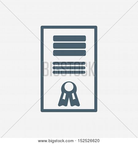 certificate vector icon isolated on white background