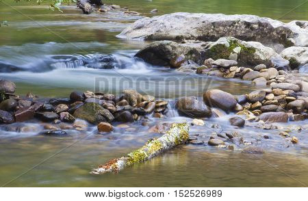 Water spilling into a small pool on Wilson Creek in North Carolina
