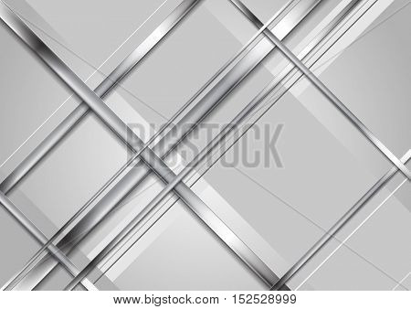 Grey tech metallic abstract elegant background. Silver metal stripes on grey backdrop. Hi-tech metallic illustration
