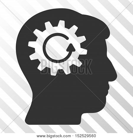 Gray Head Gear Rotation interface pictogram. Vector pictogram style is a flat symbol on diagonal hatch transparent background.