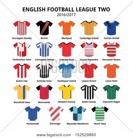 English Football League Two jerseys 2016 - 2017 vector icons set