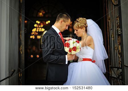 Bride At The Exit Of The Church Groom Buttonhole Buttons