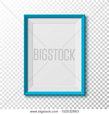 Blue, blank picture  frame isolated on transparent background. Vector illustration.