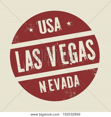 Grunge vintage round stamp with text Las Vegas Nevada vector illustration