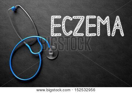 Medical Concept: Eczema Handwritten on Black Chalkboard. Medical Concept: Eczema on Black Chalkboard. 3D Rendering.