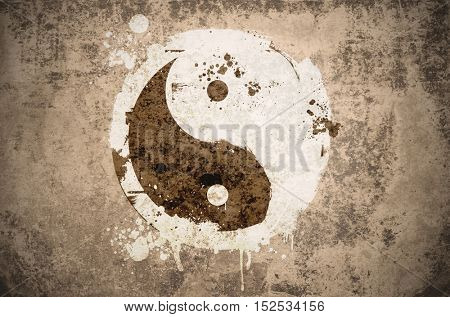 grungy yinyang symbol on a vintage texture with stains, scratches and wrinkles