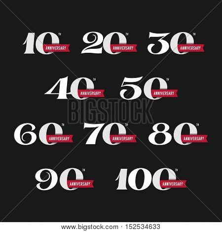 The set of anniversary signs from 10th to 100th. Stock vector illustration. Design elements on a dark background.