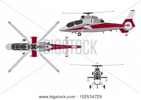 The helicopter in three views: top view side front. Realistic image of helicopter on white background. Vector illustration