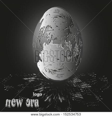 Egg the fossil logo Abstract business background design dinosaur offspring stone object handmade author Projects text eps10 vector illustration