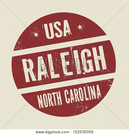 Grunge vintage round stamp with text Raleigh North Carolina vector illustration