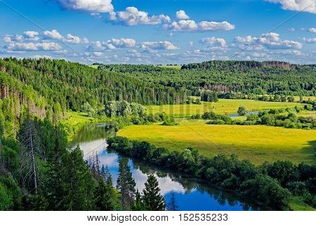 Aerial view overhand the green forest and river