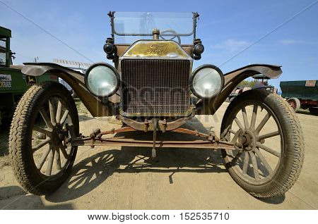 ROLLAG, MINNESOTA, Sept 1. 2016: A restored Model T Ford automobile is displayed at the annual WCSTR farm show in Rollag held each Labor Day weekend where 1000's attend.