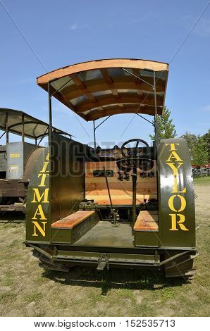ROLLAG, MINNESOTA, Sept 1. 2016: A restored Ultman Taylor steam engine is displayed at the annual WCSTR farm show in Rollag held each Labor Day weekend where 1000's attend.