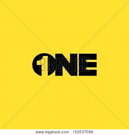 Creative Number one negative space logo concept