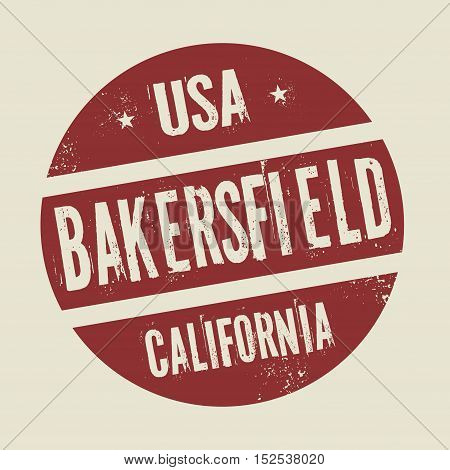 Grunge vintage round stamp with text Bakersfield California vector illustration