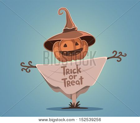 Vector Halloween Illustration Of Decorative Scarecrow With Head Orange Pumpkin With Eyes, Smile, Tee