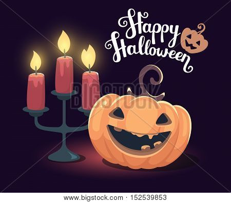 Vector Halloween Illustration Of Decorative Orange Pumpkin With Eyes, Smiles, Teeth, Candle Holder A