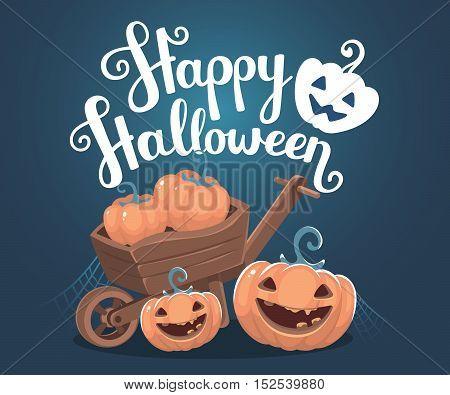 Vector Halloween Illustration Of Decorative Orange Pumpkins With Eyes, Smiles, Teeth, Wooden Wheelba