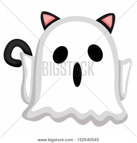 A black cat wearing ghost costume for halloween