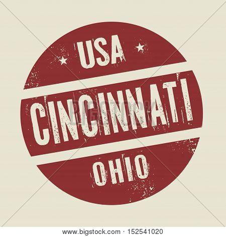 Grunge vintage round stamp with text Cincinnati Ohio vector illustration