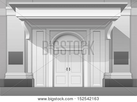Vector Classic Shop Museum Boutique Building Store Front with Closed Front Door, Columns, Roof  Visor and Place for Name Isolated on White Background