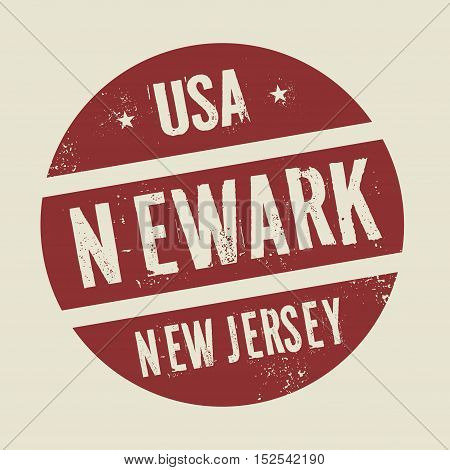 Grunge vintage round stamp with text Newark New Jersey vector illustration