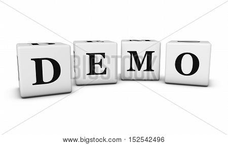 Demo word and sign on cubes 3D illustration on white background.