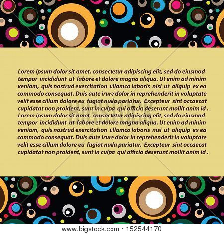 Vector decorative background with colored circles. Mustard background. Horizontal die in the middle
