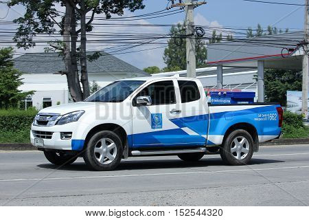 CHIANGMAI THAILAND - OCTOBER 6 2016: Pickup Truck of PROVINCIAL WATERWORKS AUTHORITY. On road no.1001 8 km from Chiangmai city.