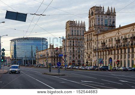 MINSK BELARUS - OCTOBER 1 2016: Privokzalnaya square (