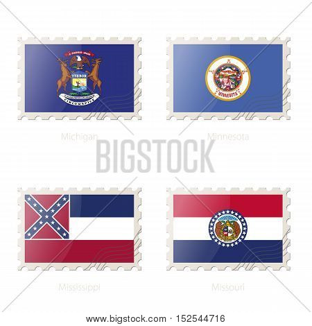 Postage Stamp With The Image Of Michigan, Minnesota, Mississippi, Missouri State Flag.