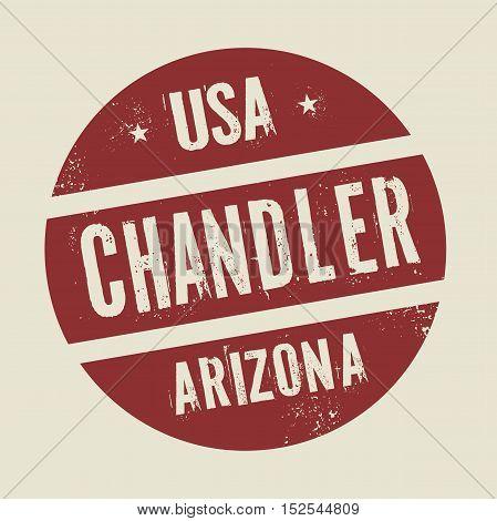 Grunge vintage round stamp with text Chandler Arizona vector illustration
