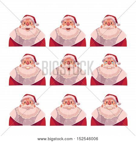 Santa Claus face expressions, set of cartoon vector illustrations isolated on white background. Santa Claus emoji face icons, set of Christmas symbol avatars with different emotions