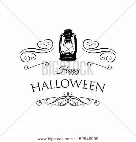 Halloween Lantern. Happy Halloween. Filigree scroll and frame divider decorated. Vector Illustration. Isolated. Greeting Card