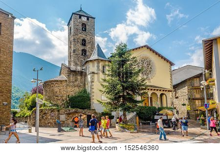 ANDORRA LA VELLA,ANDORRA - AUGUST 29,2016 - Church of Saint Esteve in Andorra la Vella. Andorra is the capital of the Principality of Andorra and is located high in the east Pyrenees .