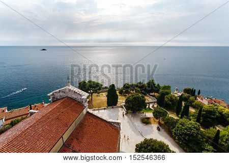 Panoramic sea views from the bell tower Church of St. Euphemia in the old town of Rovinj, Croatia.
