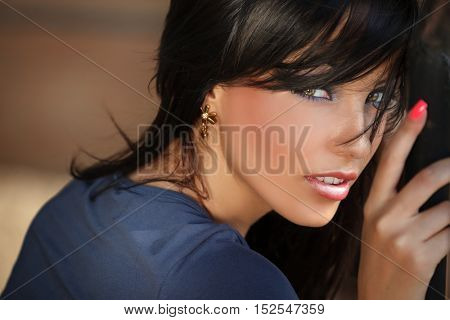 Face portrait of beautiful young sensual woman