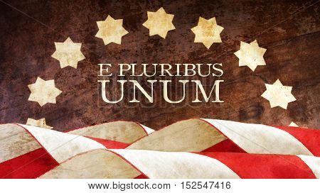 E Pluribus Unum. USA motto. Stars and Stripes. Latin Phrase meaning Out of Many One