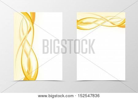 Gold flyer template design. Abstract flyer template in light gold and orange color. Wavy flyer design. Vector illustration