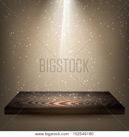 Gray background with wooden shelf and backlight. Vector illustration.