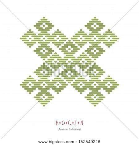 Text frame. Japanese Kogin embroidery style. Traditional pattern Hana-tsunagi. Abstract illustration. Simple geometric ornament.