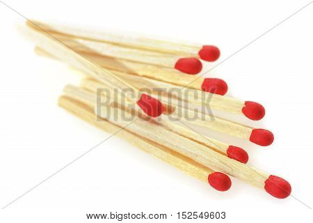 Matchsticks on a white background. Soft focus view.